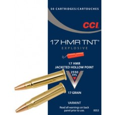 CCI Ammunition 17HMR 17GN Jacketed Hollow Point TNT (50)