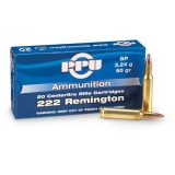 PPU Ammunition 222 Rem 50gn SP (20)